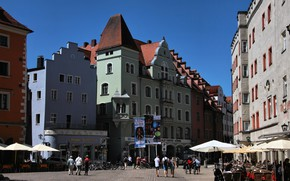 Картинка Город, Германия, Улица, Здания, Germany, Street, Регенсбург, Town, Regensburg