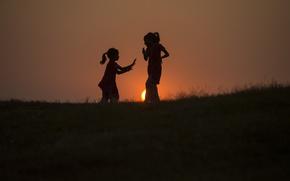 Картинка солнце, дети, силуэты, Kid tai chi