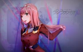 Картинка девушка, аниме, розовые волосы, Darling In The Frankxx