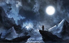 Обои Лучник, олени, человек, луна, зима, лед, север, холод