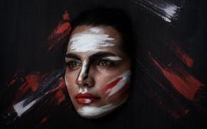 Картинка девушка, лицо, фон, краски, портрет, макияж, Neda