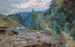 Картинка пейзаж, река, картина, Арман Гийомен, Armand Guillaumin, Мельница Бушардона. Крозан