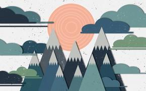 Картинка солнце, горы, природа