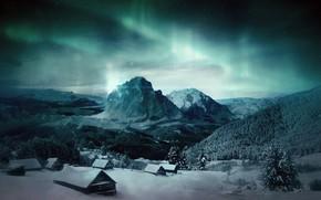 Картинка горы, сияние, деревушка, спокойная ночь