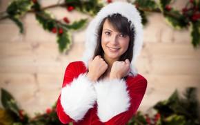 Картинка фон, праздник, новый год, портрет, рождество, макияж, платье, брюнетка, прическа, капюшон, снегурочка, красотка, в красном, …