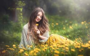 Картинка девушка, цветы, улыбка, настроение, волосы, одуванчики, Оксана, Вадим Мельник