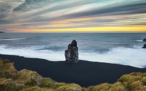 Картинка море, скала, берег, Vik Islande