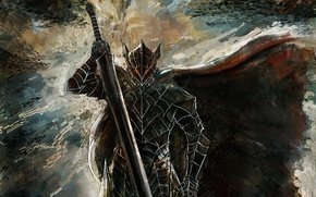Обои game, anime, powerful, Berserk, sword, ken, Berserk Armor, monster, armor, man, bakemono, blade, Guts, manga, ...