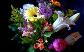 Картинка лилия, букет, пион, гербера