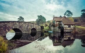 Картинка пейзаж, мост, мельница, Властелин Колец, Толкиен, Хоббит, фэнтези мир, сказак, Хобиттон