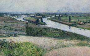 Картинка пейзаж, река, картина, Gustave Caillebotte, Гюстав Кайботт, Сена в Эпине