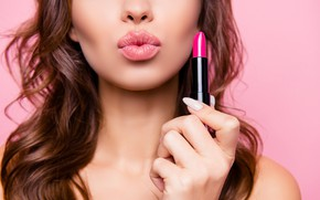 Обои lips, lipstick, makeup, nails