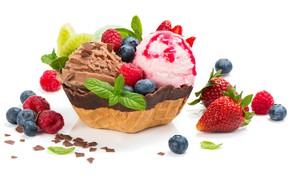 Картинка листья, ягоды, малина, шоколад, черника, клубника, мороженое, мята, десерт, сладкое, chocolate, sweets, ice cream