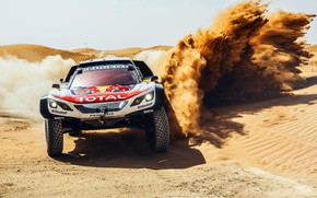 Обои Песок, Спорт, Скорость, Гонка, Занос, Peugeot, Фары, Red Bull, Rally, Ралли, Sport, Передок, RedBull, Дюна, ...