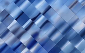 Обои свет, фон, текстура, картинка, металлический блеск, голубая фольга, переплетение лент