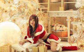 Картинка девушка, праздник, новый год, костюм, подарки