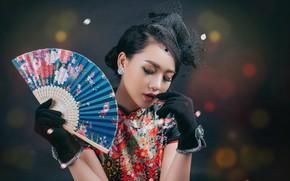 Картинка девушка, веер, азиатка