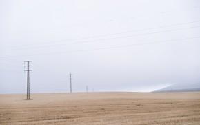 Картинка поле, туман, лэп