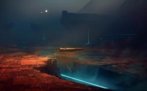Картинка city, lights, future, fantasy, night, science fiction, digital art, artwork, fantasy art, Spaceship, illustration, futuristic, …