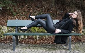 Картинка взгляд, скамейка, стиль, модель, Veronica