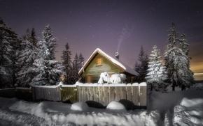Картинка зима, снег, ночь, домик