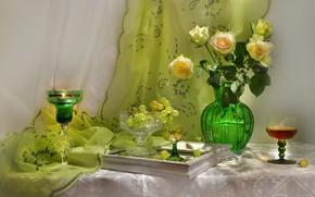 Картинка вино, розы, бокалы, виноград, натюрморт