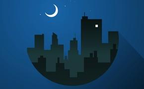Обои город, дома, силуэт, ночь, Луна, месяц