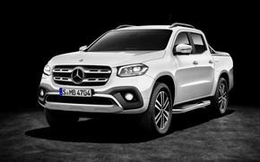 Обои белый, тёмный, фон, 2017, Mercedes-Benz, X-Class, пикап