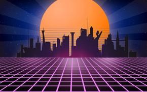 Обои ретро, retro, tron, neon, 1980, synth wave, retrowave, ретровейв