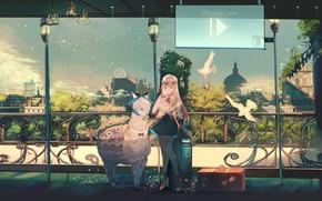 Картинка девушка, аниме, арт, лама, ori (momonimo)
