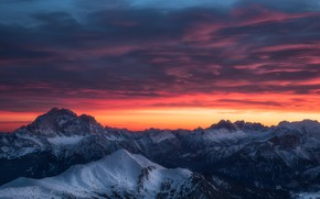 Обои зима, небо, облака, снег, горы, вечер, утро, Альпы