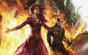 Обои Lord of Light, Priestess of R'hllor, priestess of the Lord of Light, fire, priestess, blade, ...