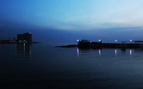 Картинка море, природа, огни, лодка, вечер, яхта, Россия, набережная, Владивосток