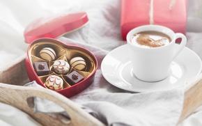 Картинка конфеты, love, romantic, chocolate, gift, coffee, breakfast, valentine`s day