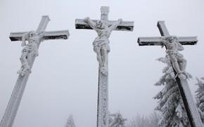 Картинка снег, крест, распятье