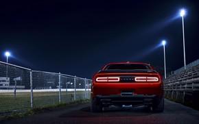 Картинка Challenger, red, sportcar, Night, 2018, musclecar, SRT, Demon