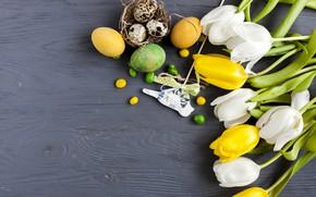 Картинка праздник, букет, Пасха, тюльпаны, wood, flowers, tulips, декор, spring, Easter, eggs, Holiday, bouquet, decoration, Celebration