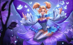 Картинка девушка, бабочки, цветы, улыбка, магия, игра, крылья, арт, фейка, ROV, Krixi, Mobile Arena
