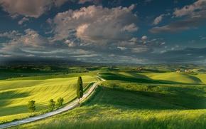 Обои лето, небо, облака, поля, Италия, луга, Тоскана
