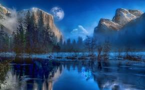 Картинка зима, горы, озеро, луна, лёд