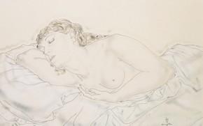 Картинка акварель, Цугухару, Фудзита, Лежащая обнаженная, (Мадлен), тушь и лавис на бумаге