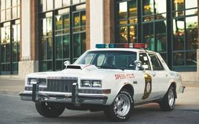 Картинка авто, город, улица, полицейская машина