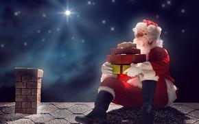 Картинка Новый Год, Рождество, night, merry christmas, gifts, santa claus