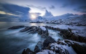 Картинка Lofoten, зима, побережье, Norway, море, Vester Nesland, Норвегия, Nordland