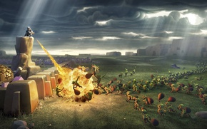 Картинка fire, flame, game, war, spark, goblins, Clash Of Clans, wiz