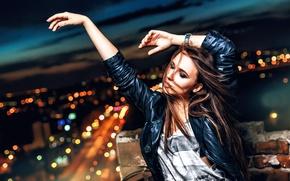 Обои девушка, танец, ночной город