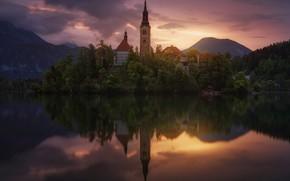 Картинка озеро, замок, Словения, Блед