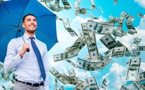 Картинка небо, облака, зонт, галстук, мужчина, рубашка, доллары, брюки, падают