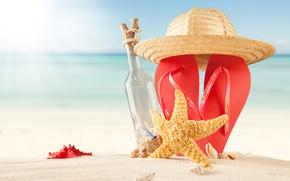 Картинка песок, море, пляж, лето, солнце, шляпа, summer, beach, каникулы, sand, сланцы, vacation, starfish, seashells