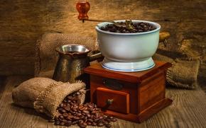 Обои кофемолка, кофе, зёрна, турка